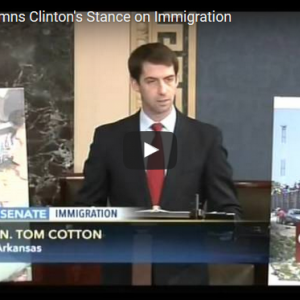 Cotton Condemns Clinton's Stance on Immigration